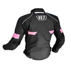 Chamarra Para Moto Mujer R7-241 Negra-Rosa-2