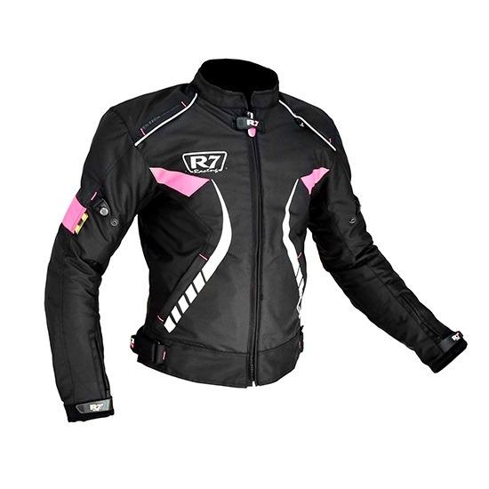 Chamarra Para Moto Mujer R7-241 Negra-Rosa
