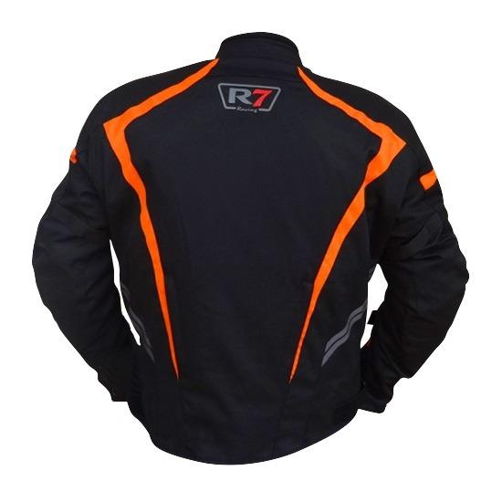 Chamarra Para Moto R7-0906 Negra-Naranja-2