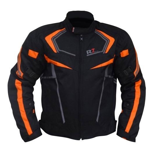 Chamarra Para Moto R7-0906 Negra-Naranja
