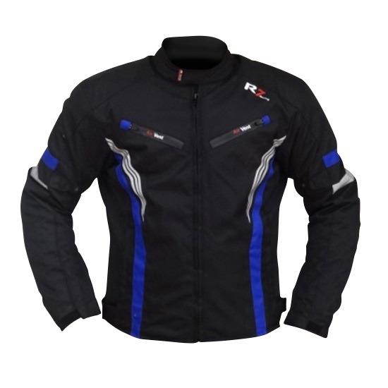 Chamarra Para Moto R7-0915 Negra-Blanco-Azul