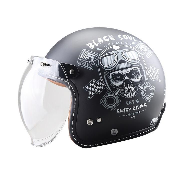 Casco GDR FF-638 Abierto 3-4 Jet Black Soul Negro Mate
