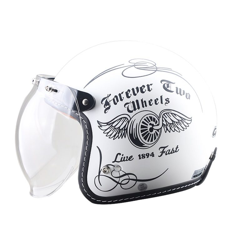 Casco GDR FF-638 Abierto 3-4 Jet Fly Wheel Blanco Mate