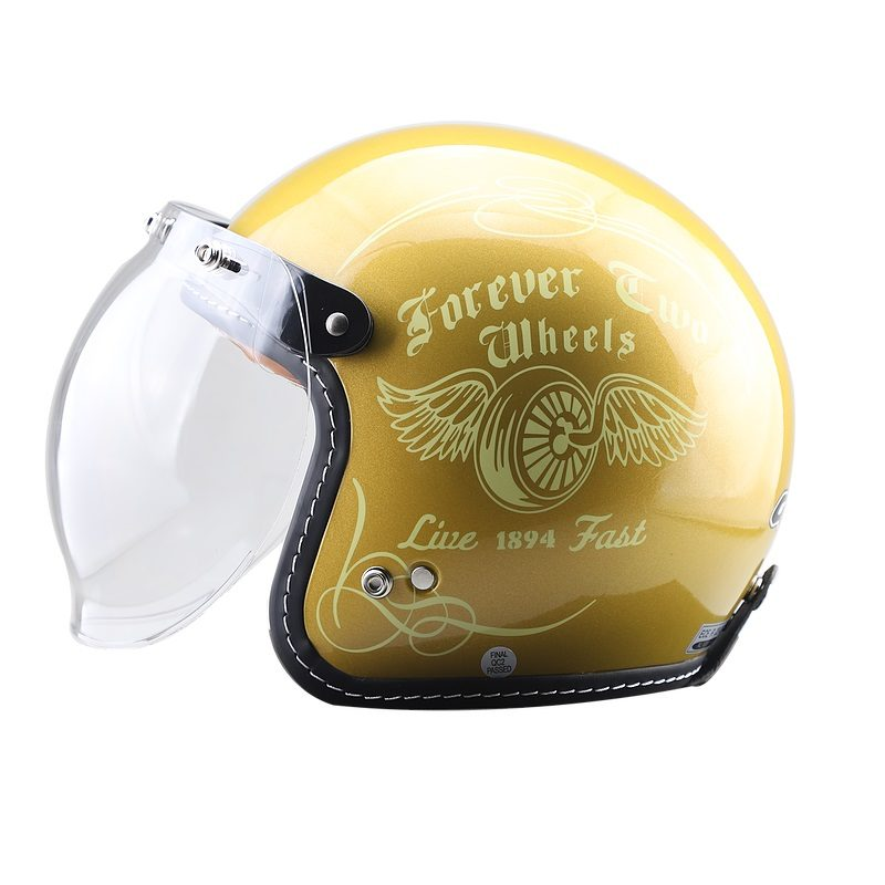 Casco GDR FF-638 Abierto 3-4 Jet Fly Wheel Oro Brillante