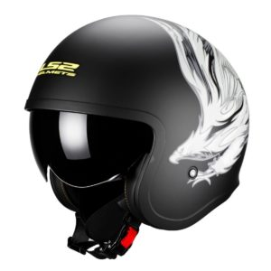Casco Abierto LS2 Spitfire Negro Mate Real MX OF599 (1)