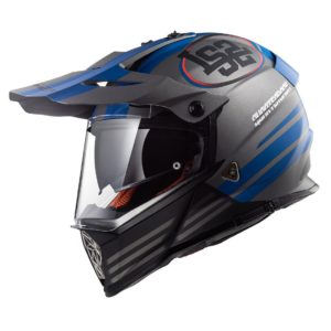 Casco Doble Proposito LS2 Cross City PIONEER QUARTERBACK Gris-Azul MX436 (1)