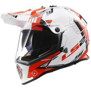 Casco Doble Proposito LS2 Cross City PIONEER Trigger Blanco-Rojo MX436 (1)