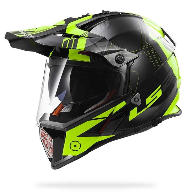 Casco Doble Proposito LS2 Cross City PIONEER Trigger Negro-Amarillo MX436 (1)