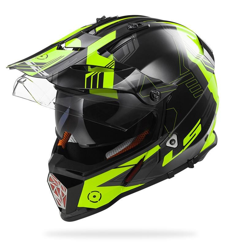 Casco Doble Proposito LS2 Cross City PIONEER Trigger Negro-Amarillo MX436 (3)