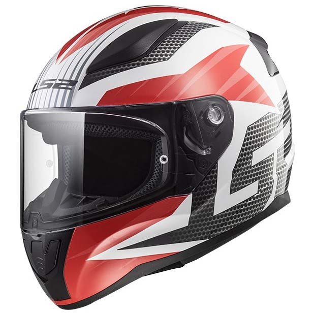 Casco Integral LS2 RAPID GRID Blanco-Rojo FF353 (1)