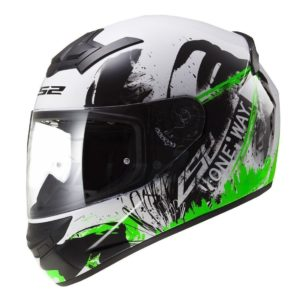 Casco Integral LS2 ROOKIE ONE Negro-Blanco-Verde FF352 (1)