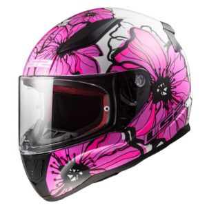 Casco Integral Moto Mujer LS2 RAPID POPPIES Blanco-Rosa FF353 (1)