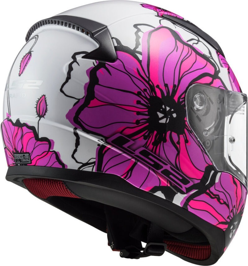 Casco Integral Moto Mujer LS2 RAPID POPPIES Blanco-Rosa FF353 (11)