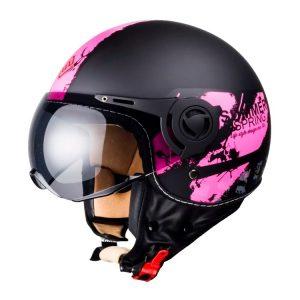 Casco Para Moto Dama Jet FS-701A Negro-Rosa Verano