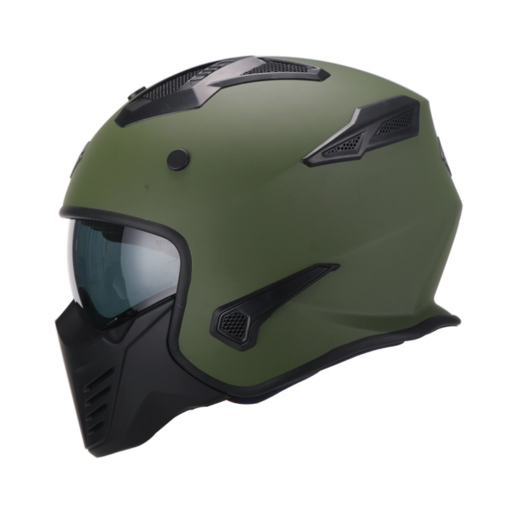 Casco Para Moto Hibrido 726X Trooper Verde Mate (1)