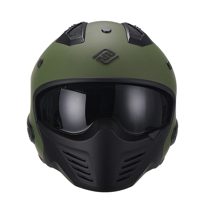 Casco Para Moto Hibrido 726X Trooper Verde Mate (2)