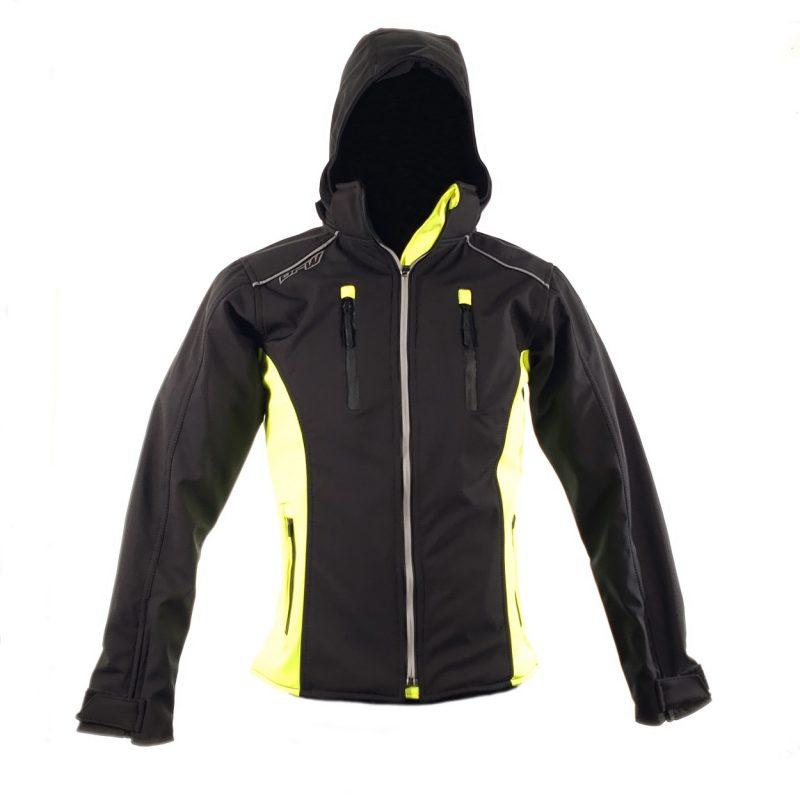 Chamarra de Moto Mujer Suave al Tacto DRW Winter Negra-Amarilla (2)