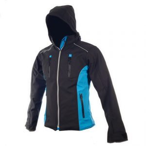 Chamarra de Moto Mujer Suave al Tacto DRW Winter Negra-Azul Turquesa (1)
