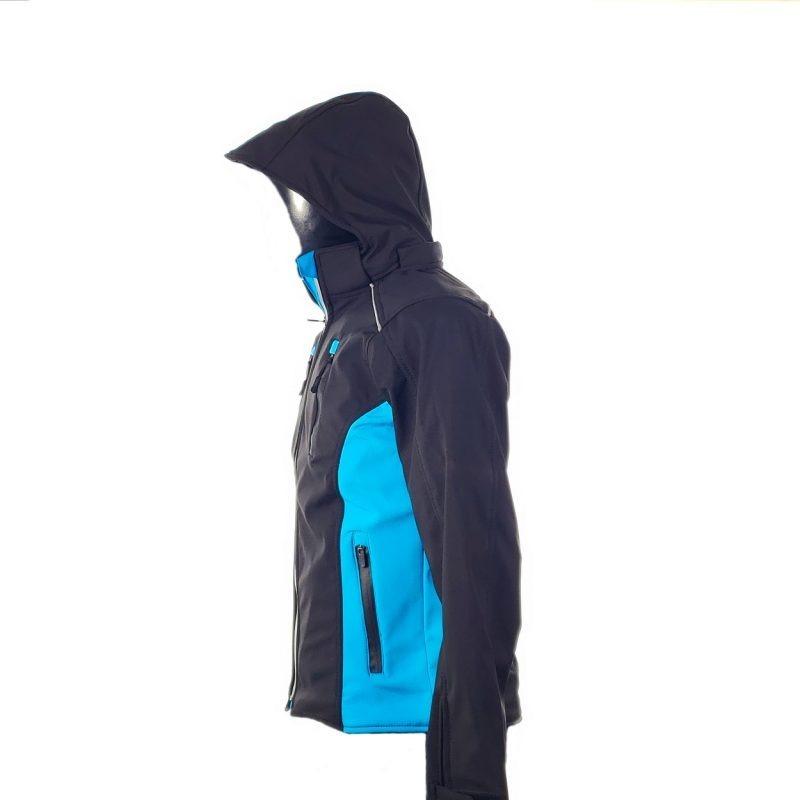 Chamarra de Moto Mujer Suave al Tacto DRW Winter Negra-Azul Turquesa (2)