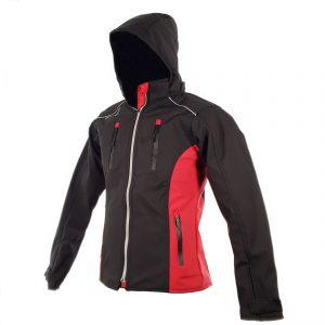 Chamarra de Moto Mujer Suave al Tacto DRW Winter Negra-Roja (1)
