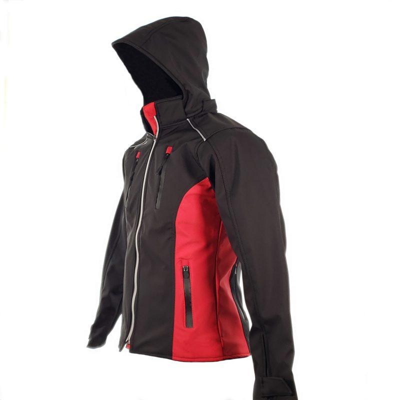 Chamarra de Moto Mujer Suave al Tacto DRW Winter Negra-Roja (2)