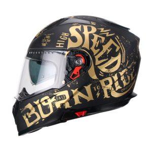 Casco Integral Faseed Golden Rider Negro-Dorado FS-819 ECE-2205