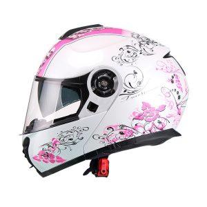 Casco Para Moto Abatible Anna Blanco-Rosa FS-907