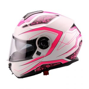 Casco Para Moto Abatible Fashion Road Blanco-Rosa FS-907