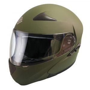 Casco Para Moto Abatible Verde Militar FS-901-1