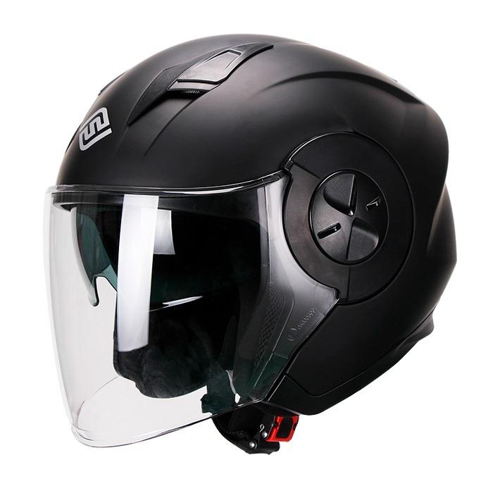 Casco Para Moto Abierto Jet 3-4 FS-735 Negro-Mate