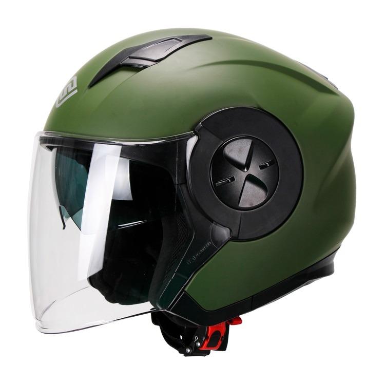 Casco Para Moto Abierto Jet 3-4 FS-735 Verde Militar-Mate