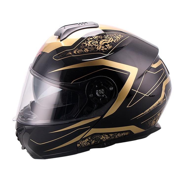 Casco Para Moto Faseed Abatible Negro-Dorado FS-907