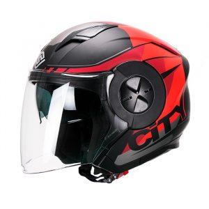 Casco Para Moto Jet 3-4 FS-735 City Rojo-Negro