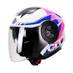 Casco Para Moto Jet 3-4 FS-735 Mujer City Blanco-Rosa