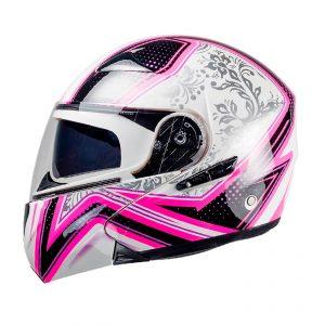 Casco Para Moto Mujer Abatible Decal Cut Blanco-Rosa FS-901