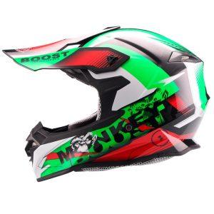 Casco de Motocross Cross Monkey Negro-Vde-Bco FS-607