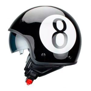 Casco para Moto Jet Abierto Bola Ocho Negro FS-710