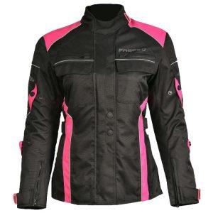 Chamarra Para Moto Mujer Monaco FJK-103 Negra Rosa